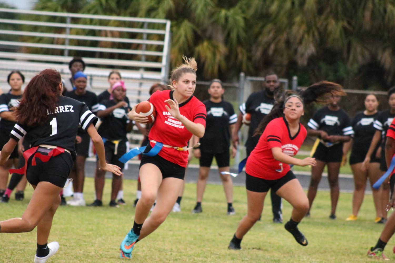 Dannielle Copp is running the ball through the junior's defenses.