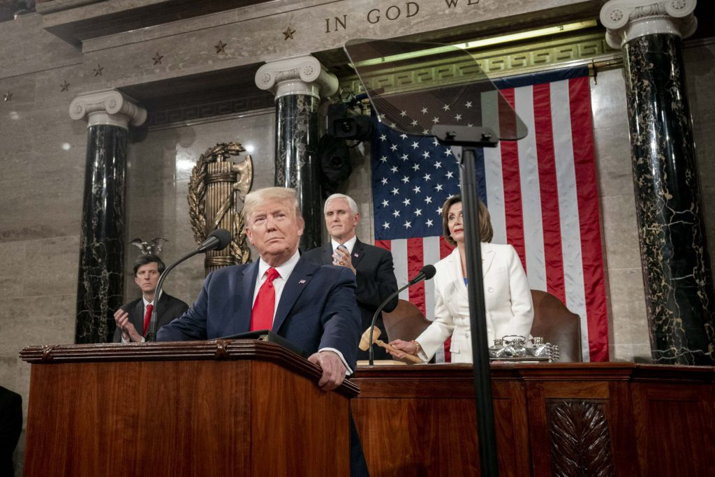 President Donald Trump in the House Chambers giving his State of the Union speech.