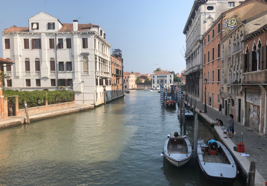 Social media posts show the canals of Venice, Italy shown here last summer are now clear and full of wildlife.