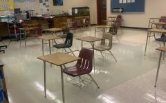 An empty science classroom as students are at home during the pandemic