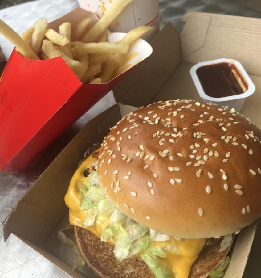 The+meal+includes+a+Quarter+Pounder+with+cheese+and+bacon%2C++medium+fries+with+barbecue+sauce%2C+and+a+sprite.