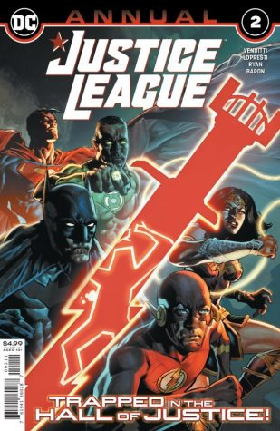 Justice League Annual #2 cover by Romulo Fajardo Jr. and Mike Perkins follows the story of the Justice League