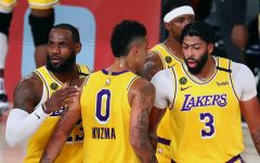 Lebron James, Anthony Davis, and Kyle Kuzma during a game against Houston.