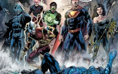 The Crime Syndicate of Earth-3. Owlman, Deathstorm, Johnny Quick, Power Ring, Ultraman, and Wonder Woman (left to right) with Sea King on the ground dying.