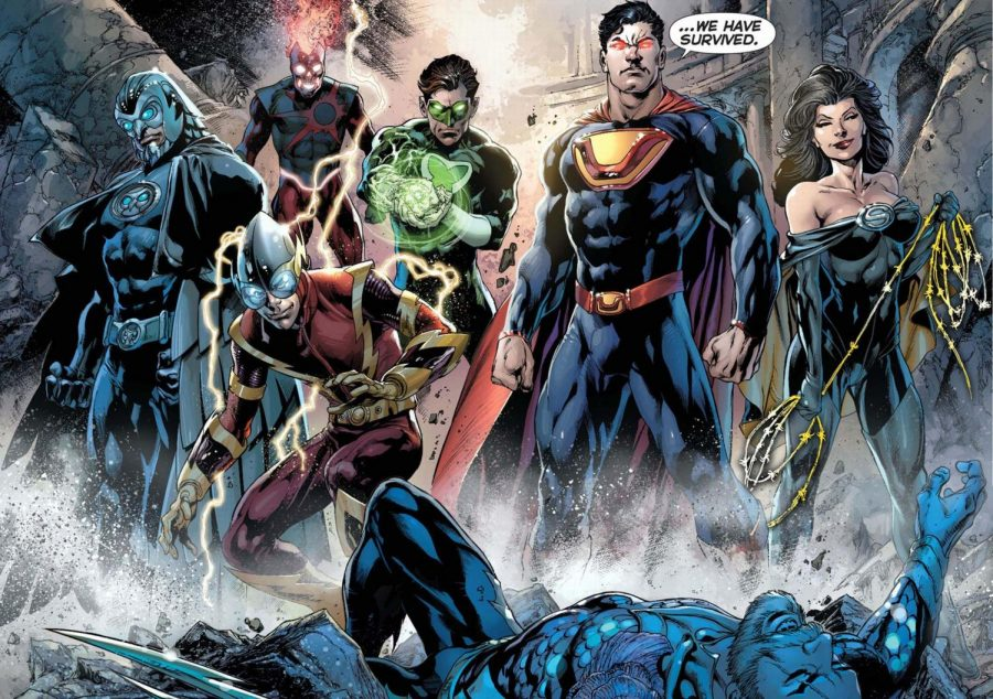 The+Crime+Syndicate+of+Earth-3.+Owlman%2C+Deathstorm%2C+Johnny+Quick%2C+Power+Ring%2C+Ultraman%2C+and+Wonder+Woman+%28left+to+right%29+with+Sea+King+on+the+ground+dying.