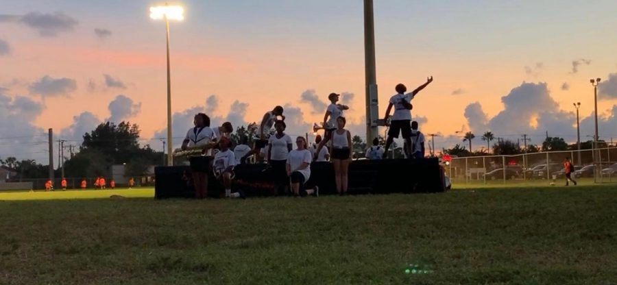 """The Santaluces """"Marching Chiefs"""" practicing their 2019 show """"Untamable""""."""