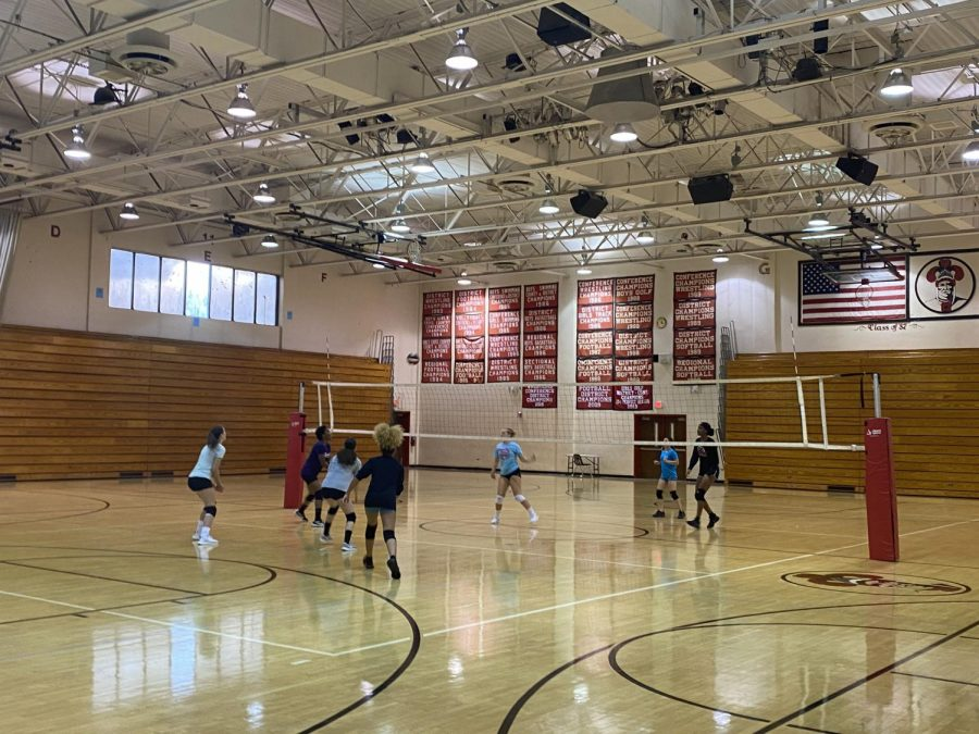 The Girls Volleyball Team Practice for the Upcoming Season