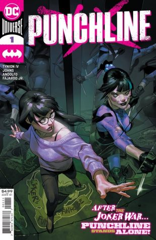 Punchline #1 cover art by Yasmine Putri shows Punchline (right) and her former self Alexis Kaye (left) staring at each other through a mirror.
