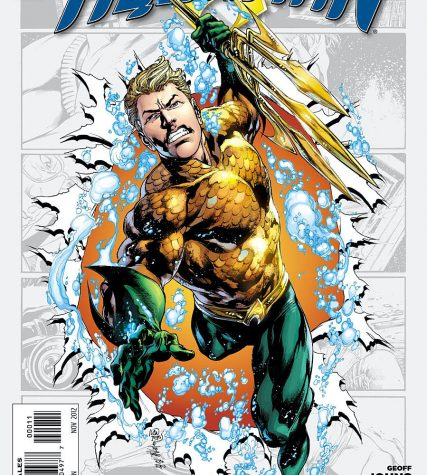 Aquaman #0 cover art illustrates Aquaman holding the Trident of Neptune while jumping out of a comic book page by Joe Prado, Ivan Reis, and Rod Reis.