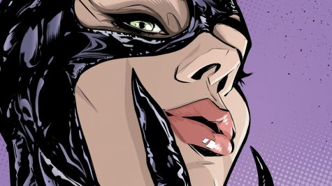 Catwoman #7 cover drawn by Joëlle Jones details Catwoman with her claws to her face.