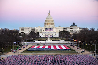 "The ""Field of Flags"" represent those who could not attend the inauguration ceremony due to the COVID-19 pandemic."