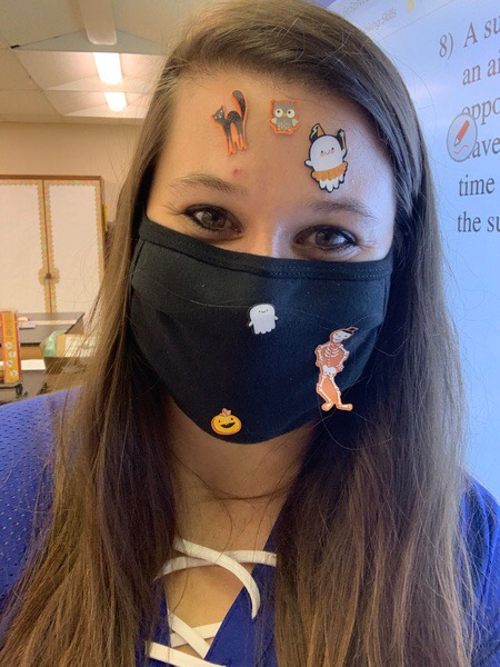 Mrs.Fullington puts sticker's on her face whenever her students ask questions during class. A good way to keep them interactive!
