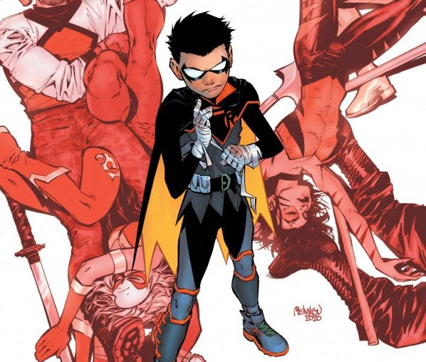 Robin #1 cover by Gleb Melnikov featuring Damian Wayne with other fighters in the DC Universe.