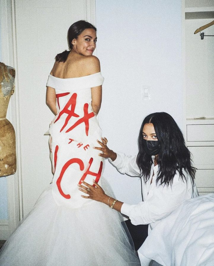 The controversial Tax the Rich dress representative Alexandria Ocasio-Cortez wore to this years Met Gala.