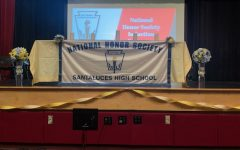 The podium where NHS inductees would proceed to light their candle.