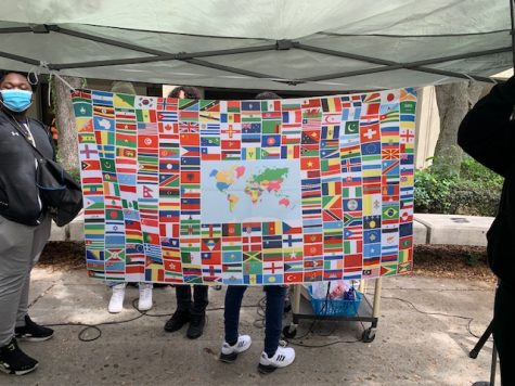 A banner with the flags of the world.