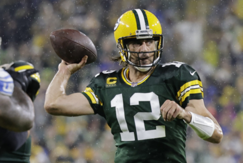 Aaron Rodgers in action.
