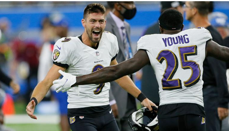 Justin+Tucker+after+his+game-winning+field+goal.