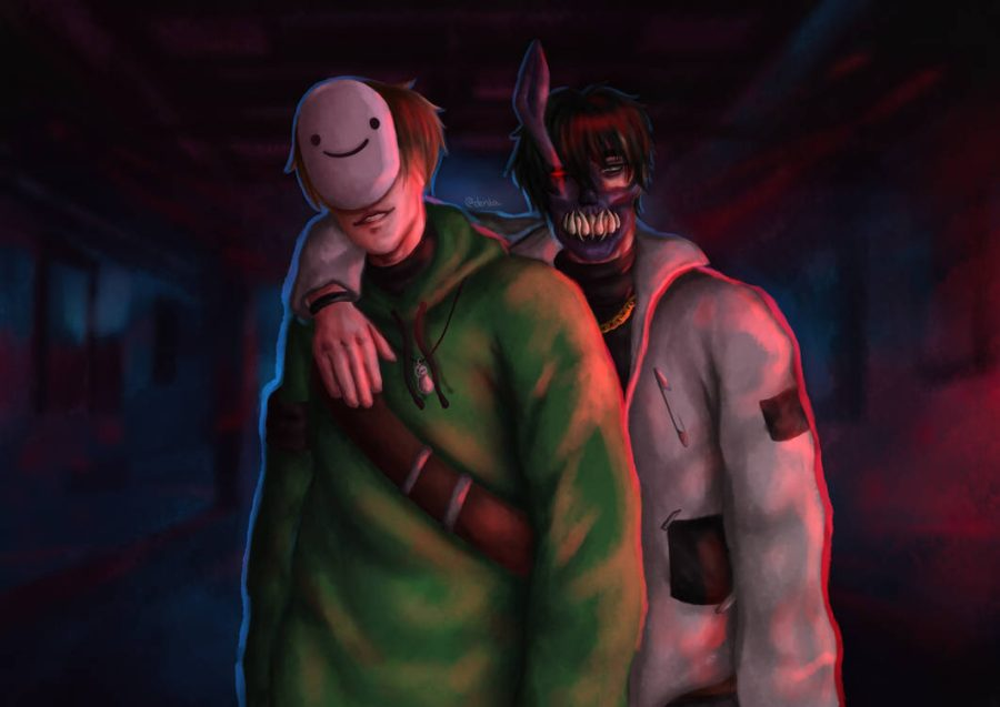 Fanart of YouTubers Dream and Corpse Husband, created by Brumicek.