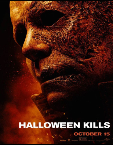 The official cover poster for the 2021 movie, Halloween Kills.